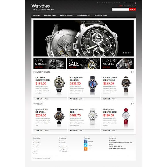 Watches Big Choice CS-Cart Template